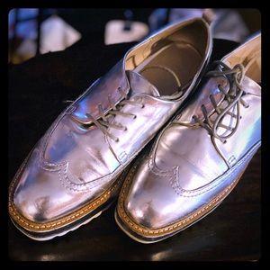 Zara Silver Metallic Platform Shoe